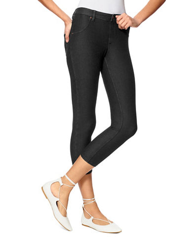 Hue Essential Denim Capri Pants-BLACK-X-Large 88919210_BLACK_X-Large