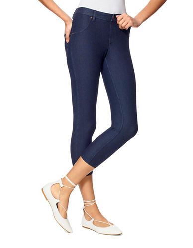 Hue Essential Denim Capri Pants-BLUE-Small