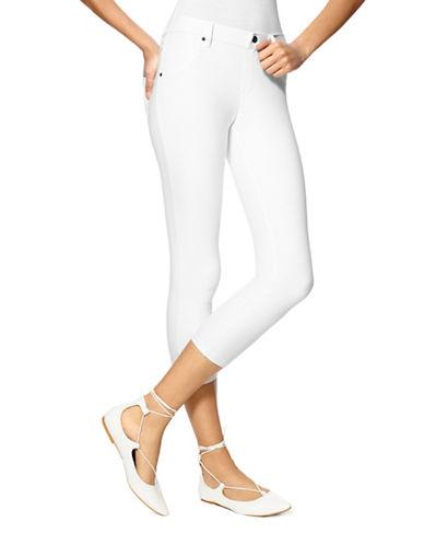 Hue Essential Denim Capri Pants-WHITE-X-Small