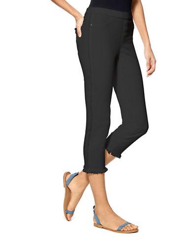 Hue Raw Fringe Cropped Denim Pants-BLACK-Small 88919290_BLACK_Small