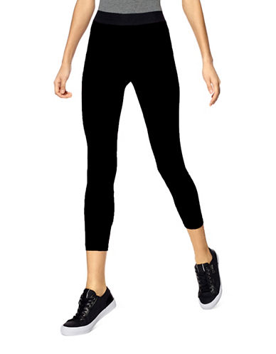 Hue Exposed Waistband Active Capri Pants-BLACK-Large 88919226_BLACK_Large