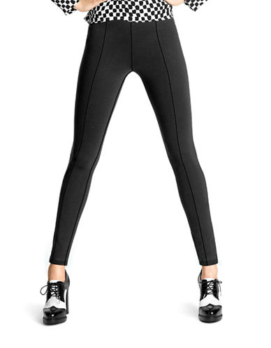 Hue High Waist Black-Out Ponte Leggings-BLACK-1X