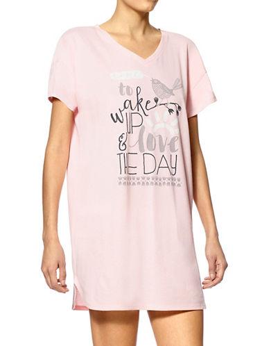 Hue Short Sleeve Sleepshirt-PINK-2X