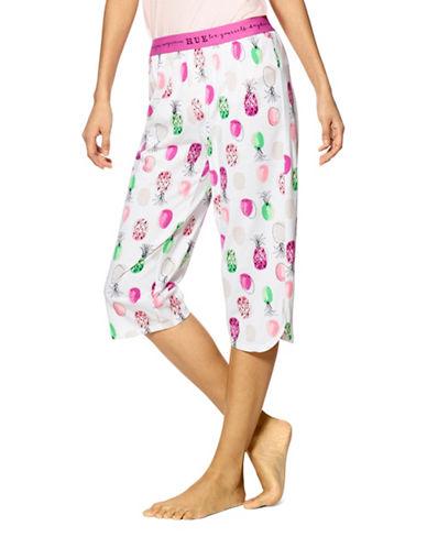 Hue Pineapple Dot Clam Digger Pyjama Pants-WHITE-Large