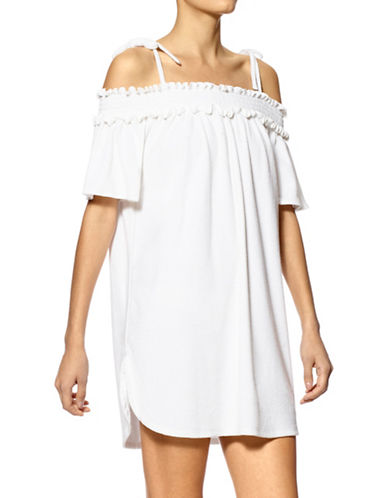 Hue Smocked Off-Shoulder Terry Chemise-WHITE-Large