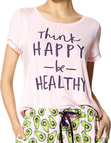 Hue Happy Thoughts Slub Jersey Tee-PINK-Large