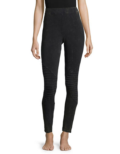 Hue Moto Ankle Leggings-BLACK-Large