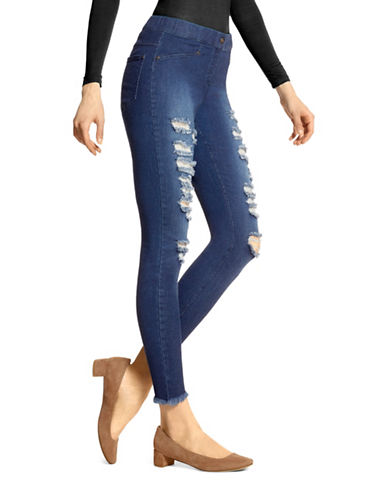 Hue Raw Edge Denim Skimmer Leggings-BLUE-Medium