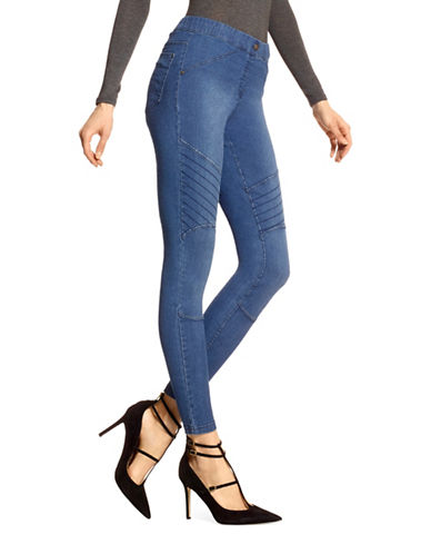 Hue Distressed Denim Moto Skimmer Leggings-BLUE-Large
