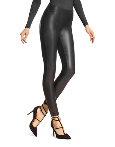 Hue Zip Hem Leatherette Leggings-BLACK-Large