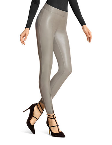 Hue Zip Hem Leatherette Leggings-GREY-Large