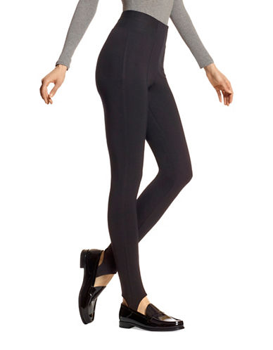 Hue High Waist Blackout Ponte Stirrup Leggings-BLACK-Small