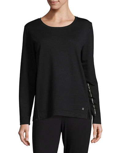 Hue Vented Long Sleeve Lounge Tee-BLACK-X-Large