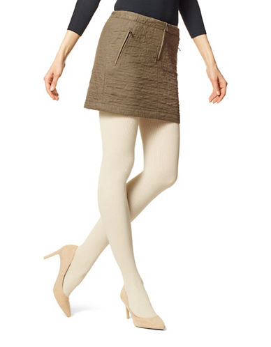 Hue Classic Rib Tights with Control Top-BEIGE-2