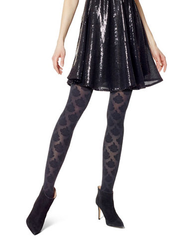 Hue Rose Tights with Control top-BLACK-Medium/Large