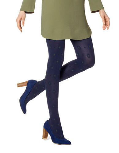 Hue Foulard Tights with Control Top-NAVY-Small/Medium
