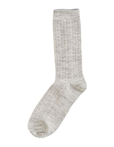 Hue Cable Knit Socks-CHARCOAL-One Size