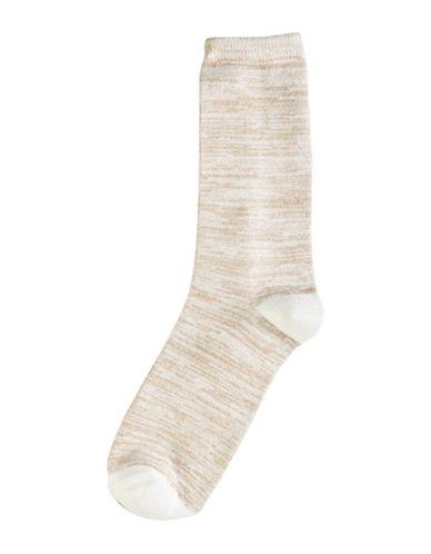 Hue Womens Super Soft Crew Socks-IVORY-One Size