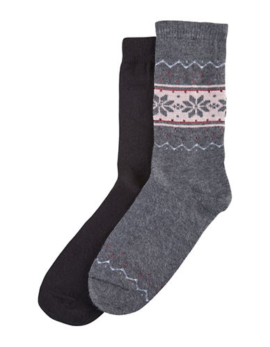 Hue Two-Pack Blocked Fairisle Boot Socks-GREY-One Size