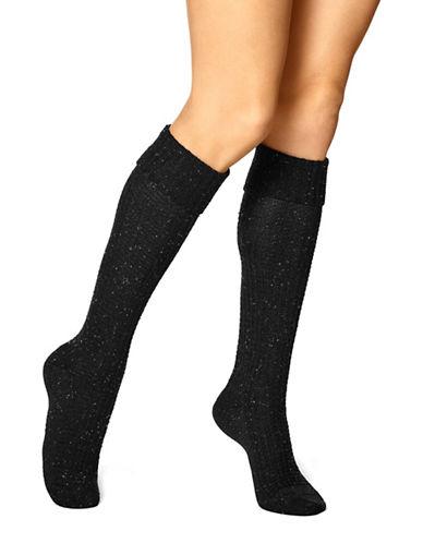 Hue Womens Cuffed Waffle Knee Socks-BLACK-One Size
