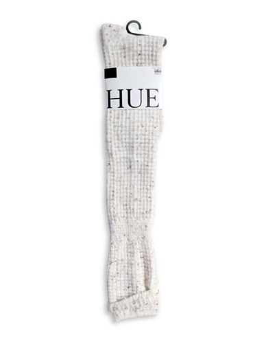 Hue Womens Cuffed Waffle Knee Socks-IVORY-One Size