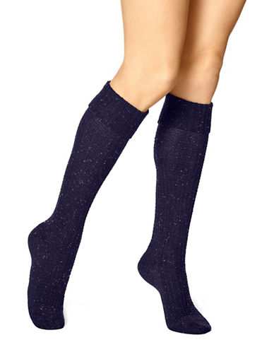 Hue Womens Cuffed Waffle Knee Socks-NAVY-One Size