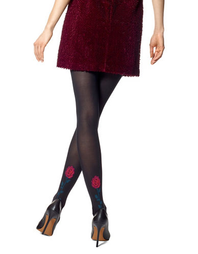 Hue Rose Tattoo Control Top Tights-BLACK-Medium/Large