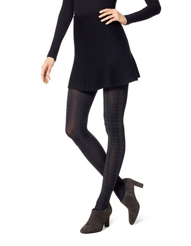 Hue Plaid Tights-BLACK-Medium/Large