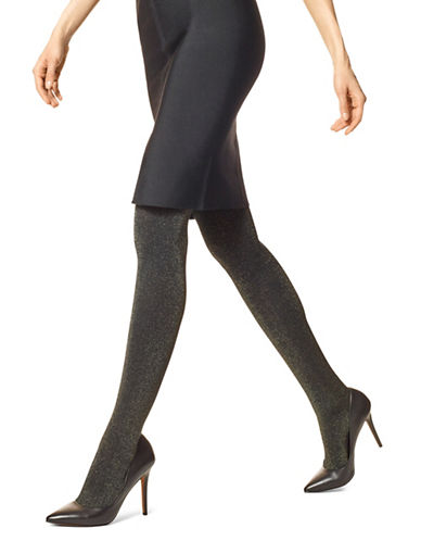 Hue Metallic Control Top Tights-BLACK/GOLD-Small/Medium