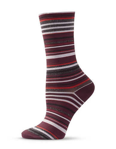 Hue Ultrasmooth Striped Socks-WINE-One Size