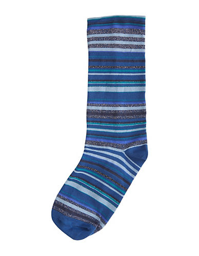 Hue Ultrasmooth Striped Socks-BLUE-One Size