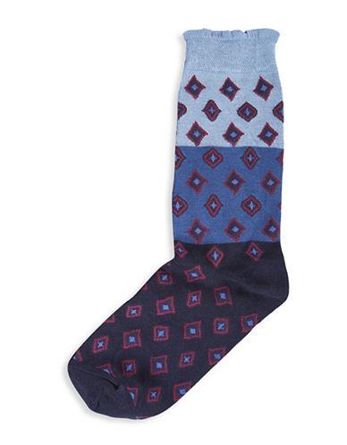 Hue Femme Top Sock-GEO BLUE-One Size