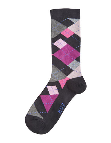 Hue Womens Irregular Argyle Crew Socks-BLACK-One Size