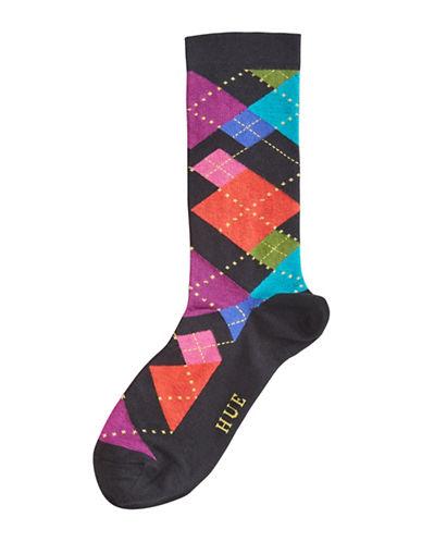 Hue Womens Irregular Argyle Crew Socks-BLACK MULTI-One Size