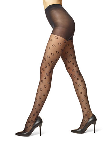Hue Dot Mesh Sheer with Control Top-BLACK-1