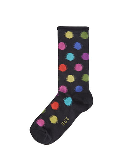 Hue Blurred Dots Roll Top Socks-BLACK-One Size