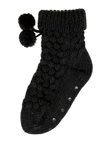 Hue Basket Weave-Knit Socks-BLACK-One Size