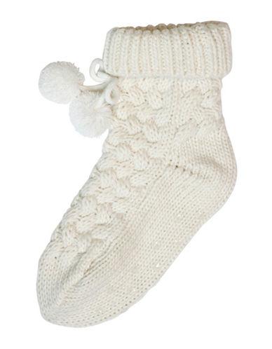 Hue Basket Weave-Knit Socks-IVORY-One Size