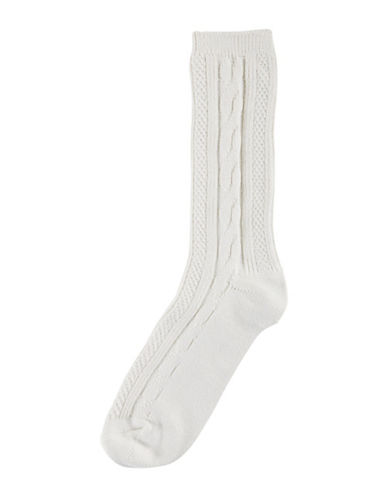 Hue Cable Knit Boot Socks-IVORY-One Size