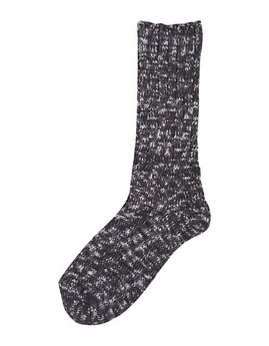 Hue Supersoft Ribbed Boot Socks-BLACK-One Size