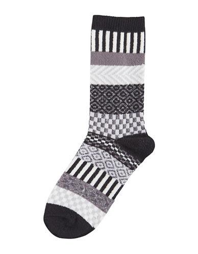 Hue Fairisle Multi-Pattern Boot Socks-BLACK-One Size