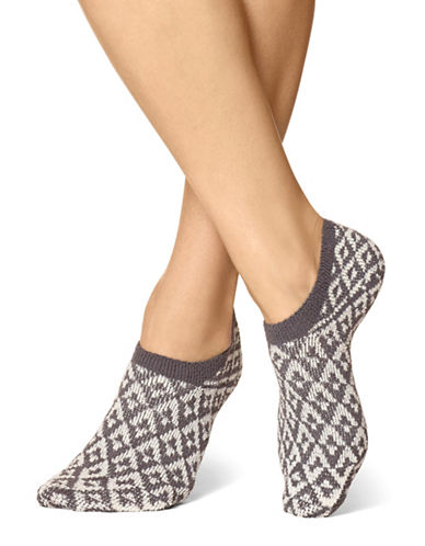 Hue Geo-Print No-Show Socks-GREY-One Size