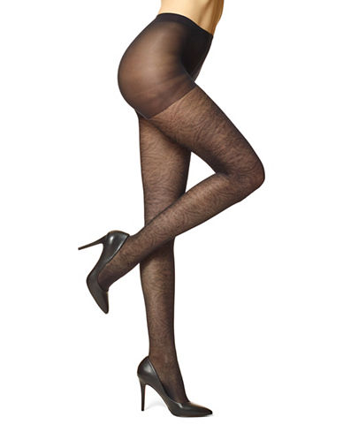 Hue Sheer Medallion Tights-BLACK-4