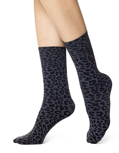 Hue Leopard Socks-GREY-One Size