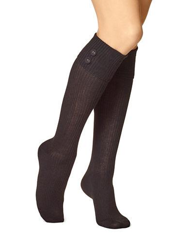 Hue Womens Ribbed Knee Socks-BLACK-One Size