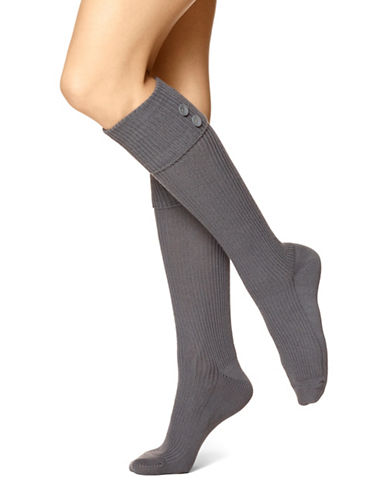 Hue Womens Ribbed Knee Socks-GREY-One Size