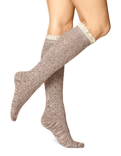 Hue Womens Spacedyed Cable Knee Socks-BROWN-One Size