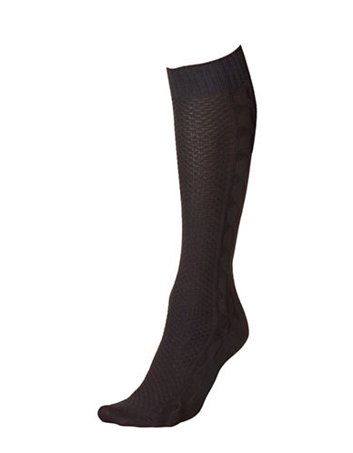 Hue Supersoft Cableknit Knee Sock-BLACK-One Size