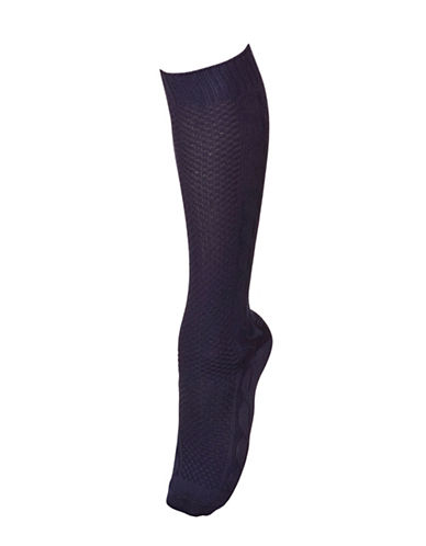 Hue Supersoft Cableknit Knee Sock-BLUE-One Size