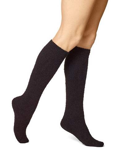Hue Womens Super Plush Knee Socks-BLACK-One Size